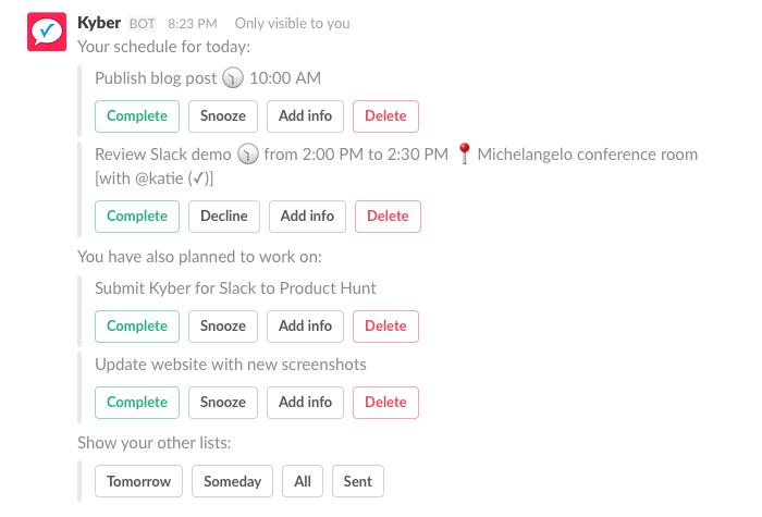 4. Para-dos, lembretes e calendário - tudo em um só lugar, em Slack