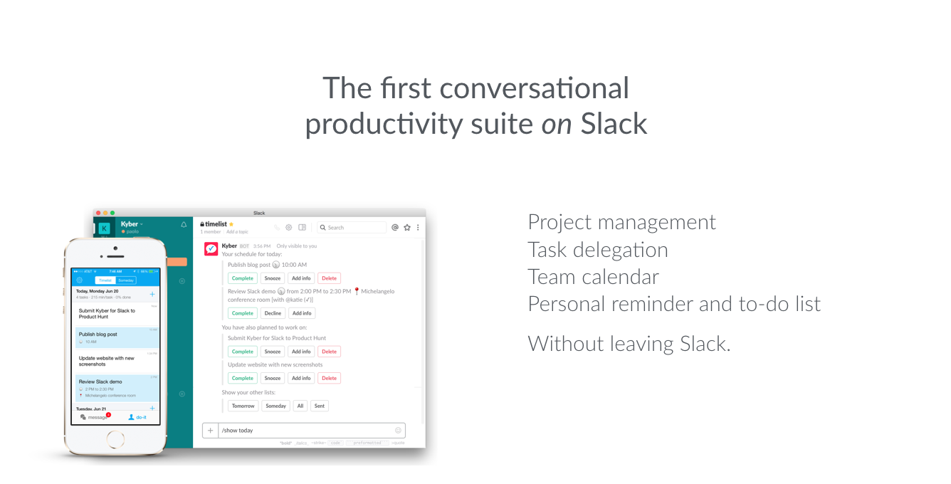 Kyber for Slack: Project management, task delegation, team calendar, personal reminder and to-do list without leaving Slack