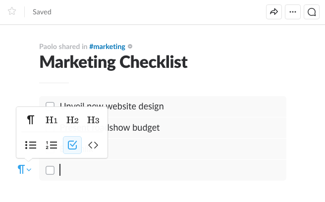 To-do checklist for Slack