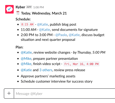 Kyber dashboard inside Slack
