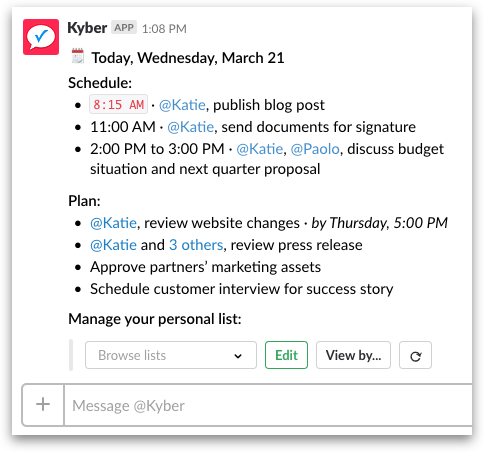 Task management, Project Management and Calendar for Slack | Kyber